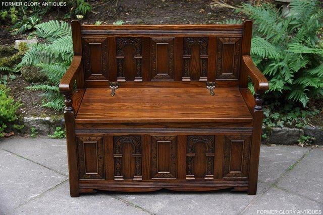 Image 18 of OLD CHARM LIGHT OAK HALL SEAT BOX SETTLE MONKS BENCH CHEST