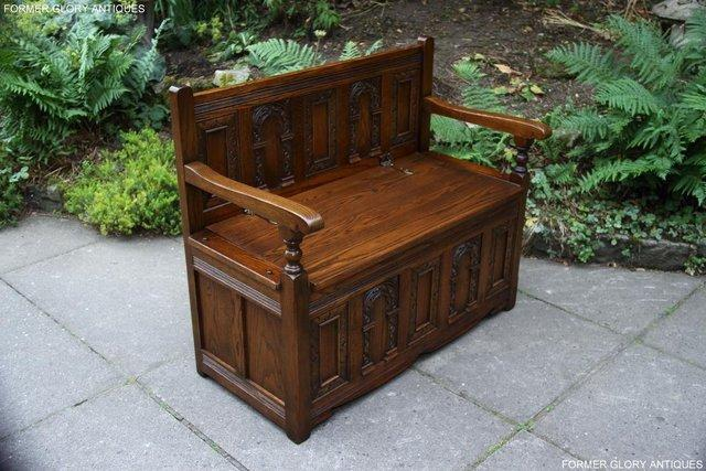 Image 19 of OLD CHARM LIGHT OAK HALL SEAT BOX SETTLE MONKS BENCH CHEST