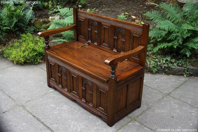 Image 20 of OLD CHARM LIGHT OAK HALL SEAT BOX SETTLE MONKS BENCH CHEST