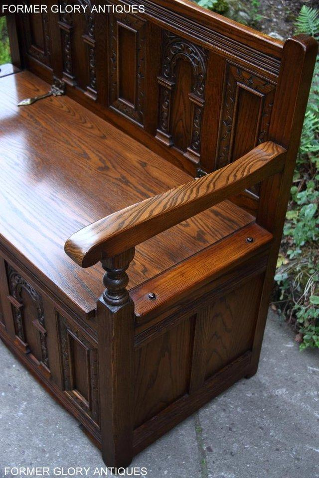 Image 22 of OLD CHARM LIGHT OAK HALL SEAT BOX SETTLE MONKS BENCH CHEST