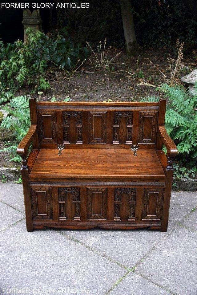 Image 26 of OLD CHARM LIGHT OAK HALL SEAT BOX SETTLE MONKS BENCH CHEST