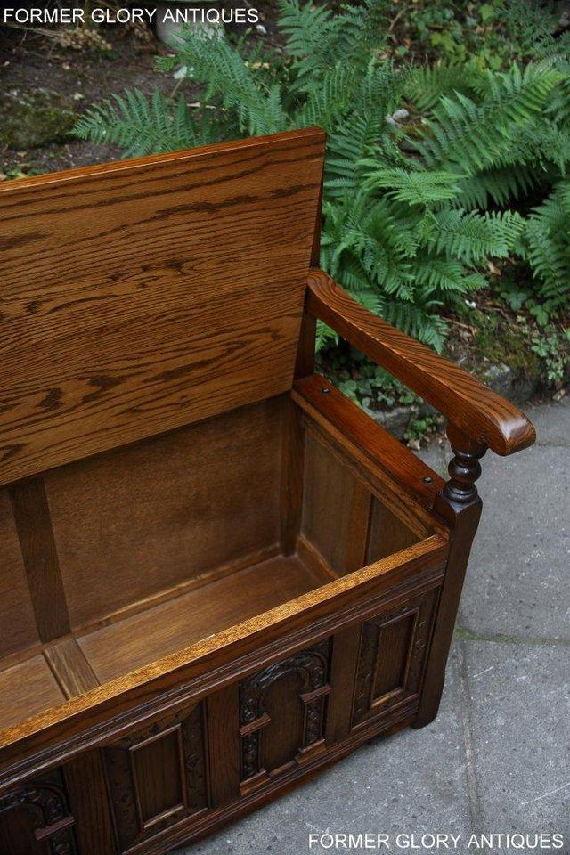Image 30 of OLD CHARM LIGHT OAK HALL SEAT BOX SETTLE MONKS BENCH CHEST