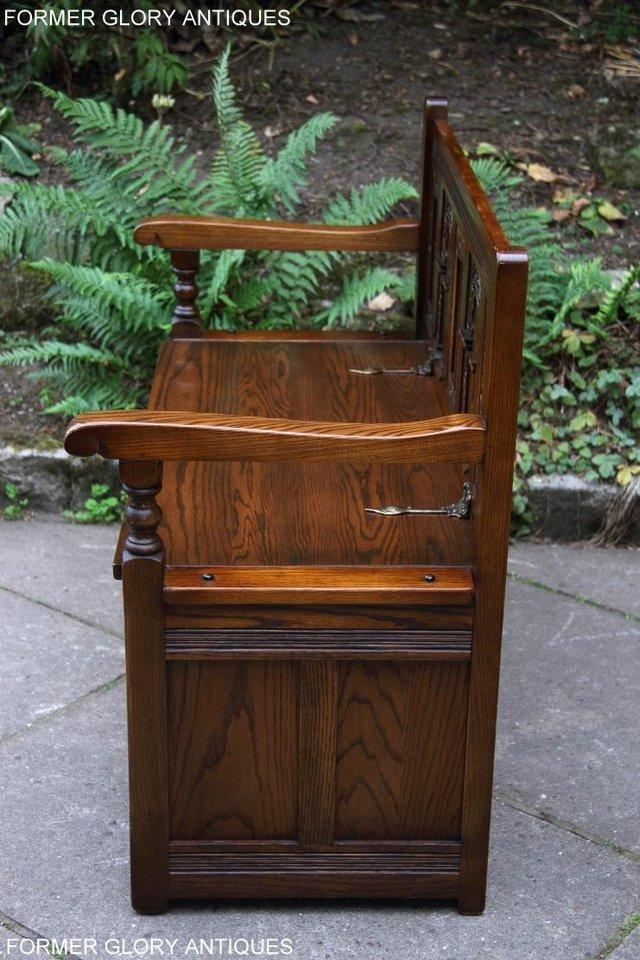 Image 31 of OLD CHARM LIGHT OAK HALL SEAT BOX SETTLE MONKS BENCH CHEST