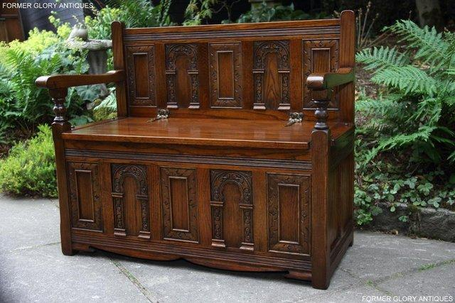 Image 32 of OLD CHARM LIGHT OAK HALL SEAT BOX SETTLE MONKS BENCH CHEST