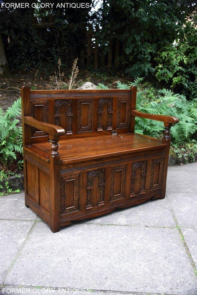 Image 34 of OLD CHARM LIGHT OAK HALL SEAT BOX SETTLE MONKS BENCH CHEST