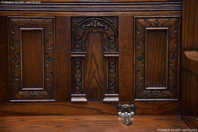 Image 38 of OLD CHARM LIGHT OAK HALL SEAT BOX SETTLE MONKS BENCH CHEST