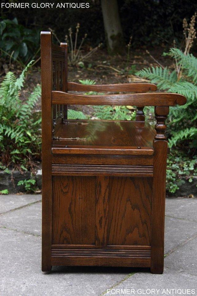 Image 39 of OLD CHARM LIGHT OAK HALL SEAT BOX SETTLE MONKS BENCH CHEST