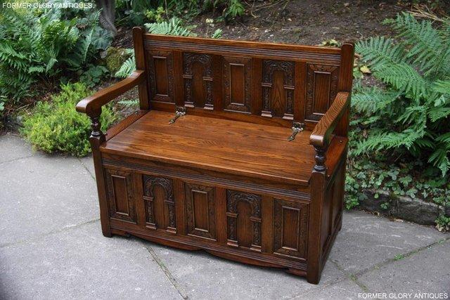 Image 41 of OLD CHARM LIGHT OAK HALL SEAT BOX SETTLE MONKS BENCH CHEST