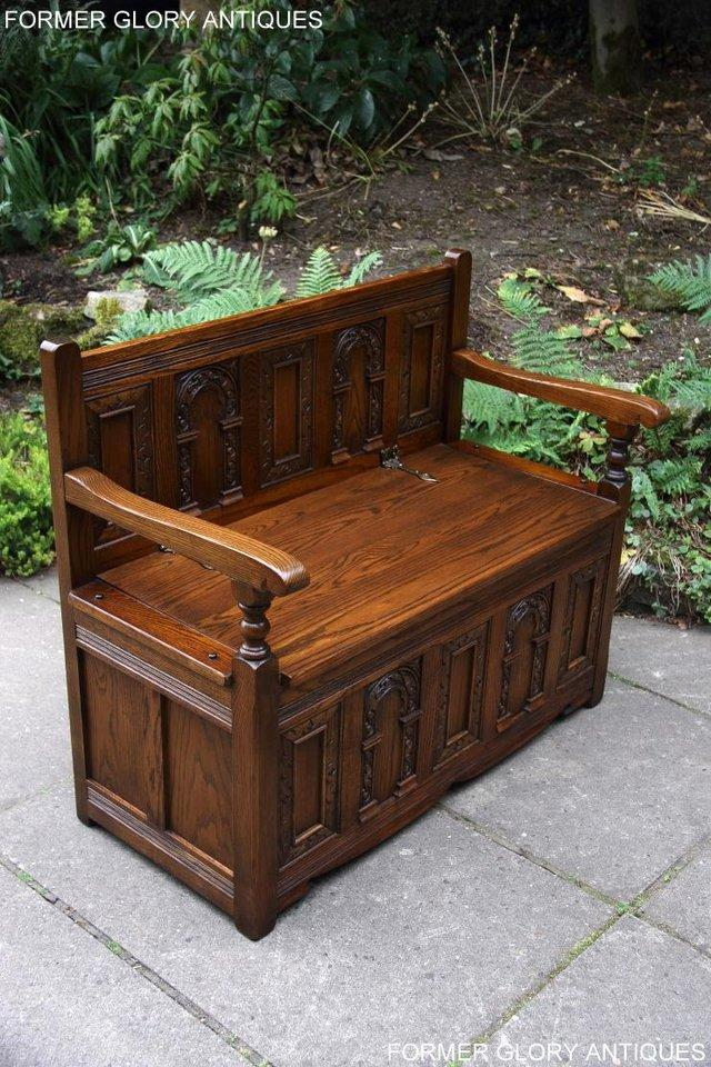 Image 46 of OLD CHARM LIGHT OAK HALL SEAT BOX SETTLE MONKS BENCH CHEST