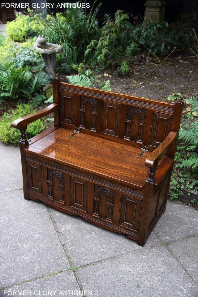 Image 49 of OLD CHARM LIGHT OAK HALL SEAT BOX SETTLE MONKS BENCH CHEST