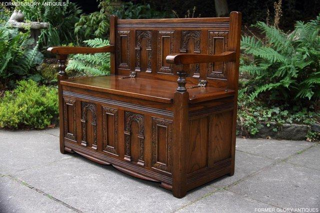 Image 51 of OLD CHARM LIGHT OAK HALL SEAT BOX SETTLE MONKS BENCH CHEST