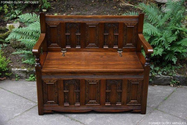 Image 54 of OLD CHARM LIGHT OAK HALL SEAT BOX SETTLE MONKS BENCH CHEST