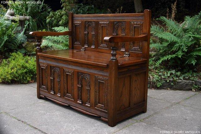 Image 56 of OLD CHARM LIGHT OAK HALL SEAT BOX SETTLE MONKS BENCH CHEST