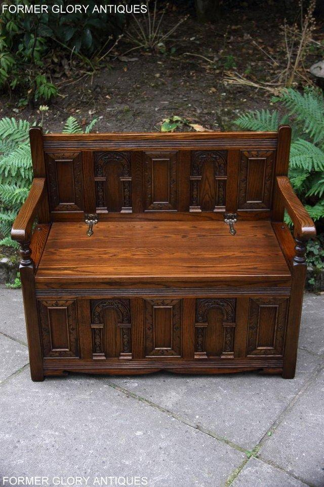 Image 58 of OLD CHARM LIGHT OAK HALL SEAT BOX SETTLE MONKS BENCH CHEST