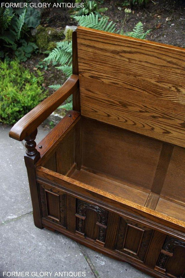 Image 59 of OLD CHARM LIGHT OAK HALL SEAT BOX SETTLE MONKS BENCH CHEST