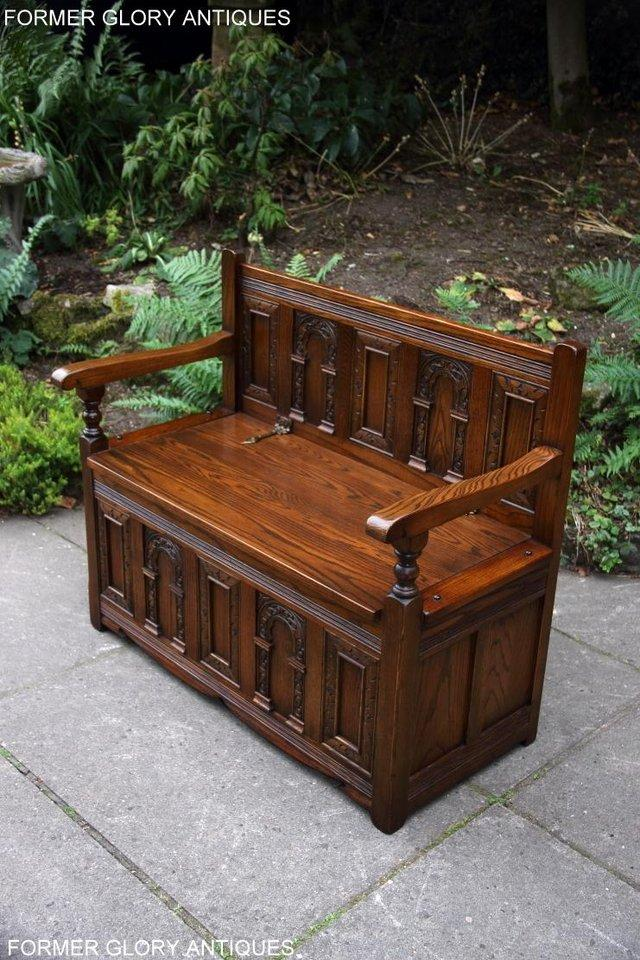 Image 63 of OLD CHARM LIGHT OAK HALL SEAT BOX SETTLE MONKS BENCH CHEST