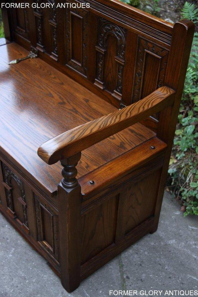 Image 66 of OLD CHARM LIGHT OAK HALL SEAT BOX SETTLE MONKS BENCH CHEST