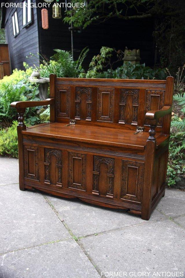 Image 71 of OLD CHARM LIGHT OAK HALL SEAT BOX SETTLE MONKS BENCH CHEST
