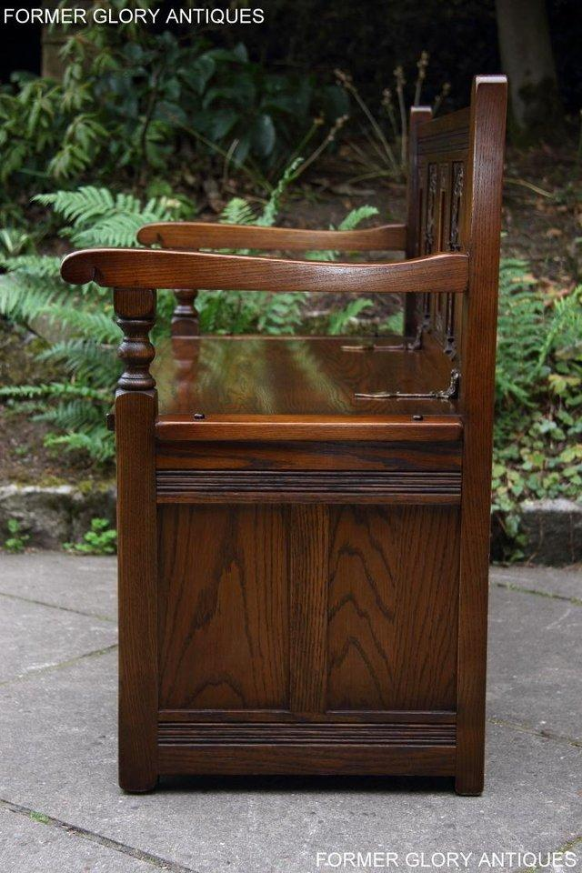 Image 73 of OLD CHARM LIGHT OAK HALL SEAT BOX SETTLE MONKS BENCH CHEST