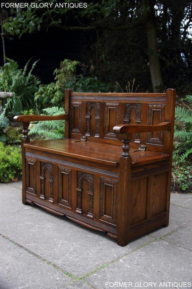 Image 74 of OLD CHARM LIGHT OAK HALL SEAT BOX SETTLE MONKS BENCH CHEST