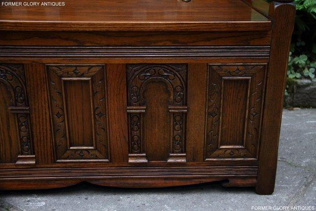 Image 75 of OLD CHARM LIGHT OAK HALL SEAT BOX SETTLE MONKS BENCH CHEST