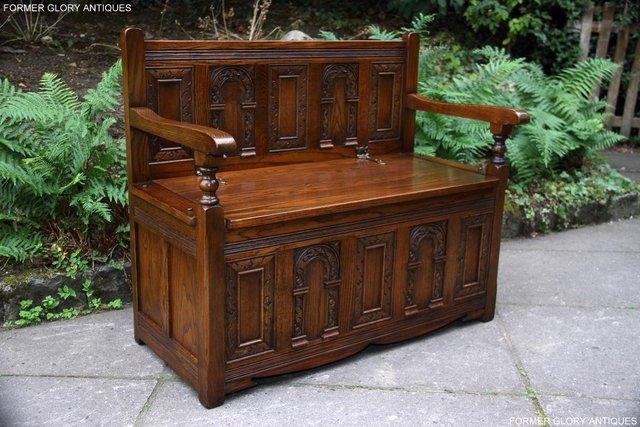 Image 80 of OLD CHARM LIGHT OAK HALL SEAT BOX SETTLE MONKS BENCH CHEST