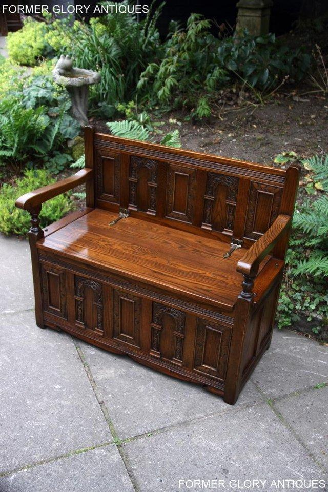 Image 82 of OLD CHARM LIGHT OAK HALL SEAT BOX SETTLE MONKS BENCH CHEST