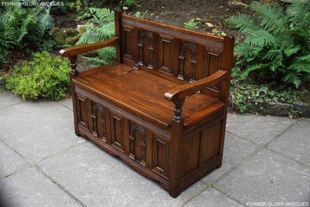 Image 85 of OLD CHARM LIGHT OAK HALL SEAT BOX SETTLE MONKS BENCH CHEST