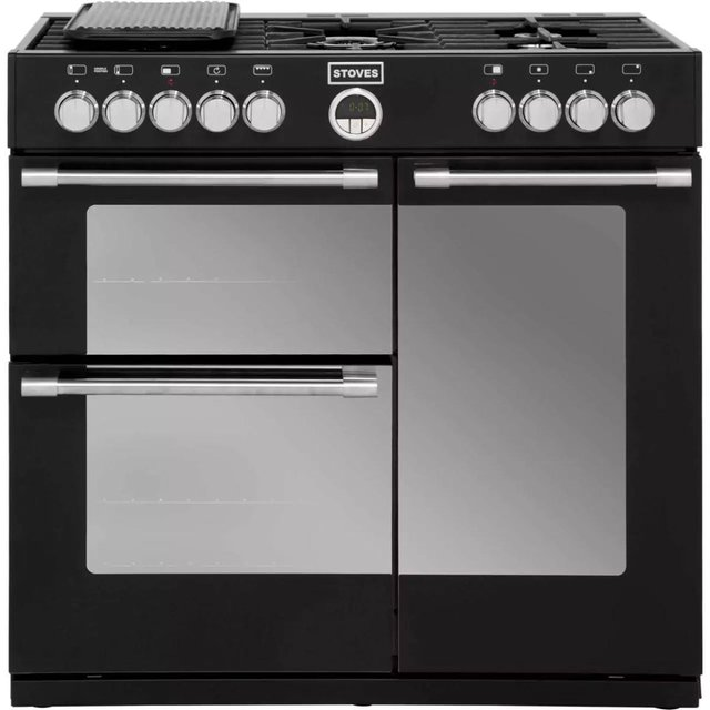 Preview of the first image of STOVES 90CM DUAL FUEL RANGE COOKER-5 BURNERS-BLACK-SUPERB.