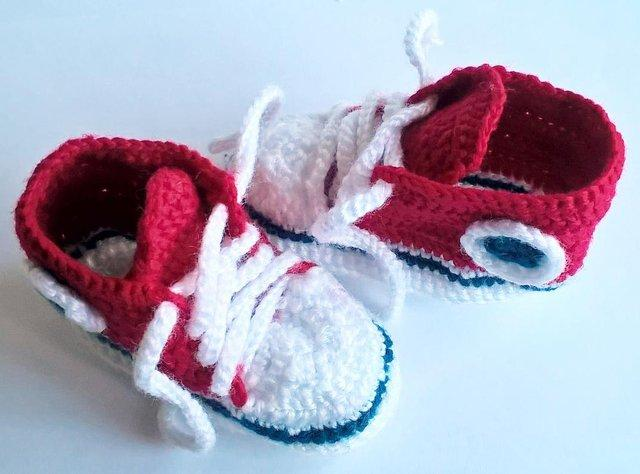 Red Baby Converse Like Sneakers Handmade Crocheted New For