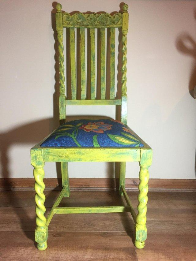 Preview of the first image of Vintage Oak, Boho/Shabby chic, designer fabric chair..