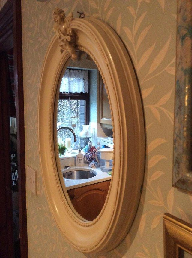 Preview of the first image of Vintage cream Shabby Chic oval mirror..