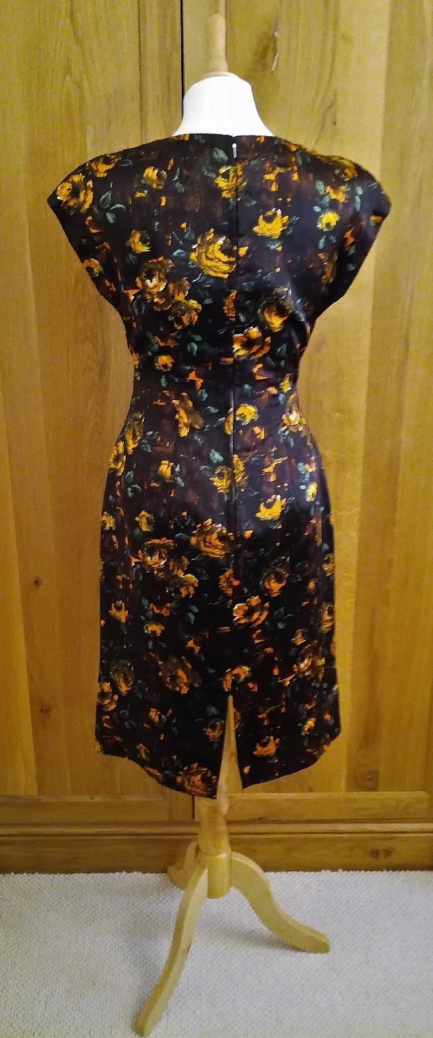 Image 3 of 1960 VINTAGE Wiggle Dress Silhouette Brown Gold Buckle