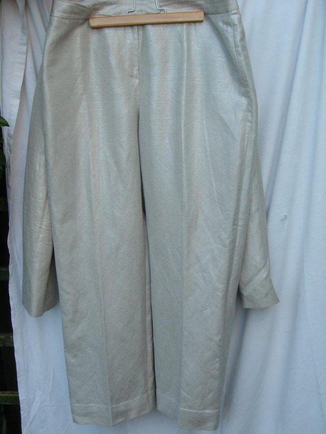 Image 2 of ARTHUR S LEVINE TAHARI Silver Trousers/Jacket Size 12/14