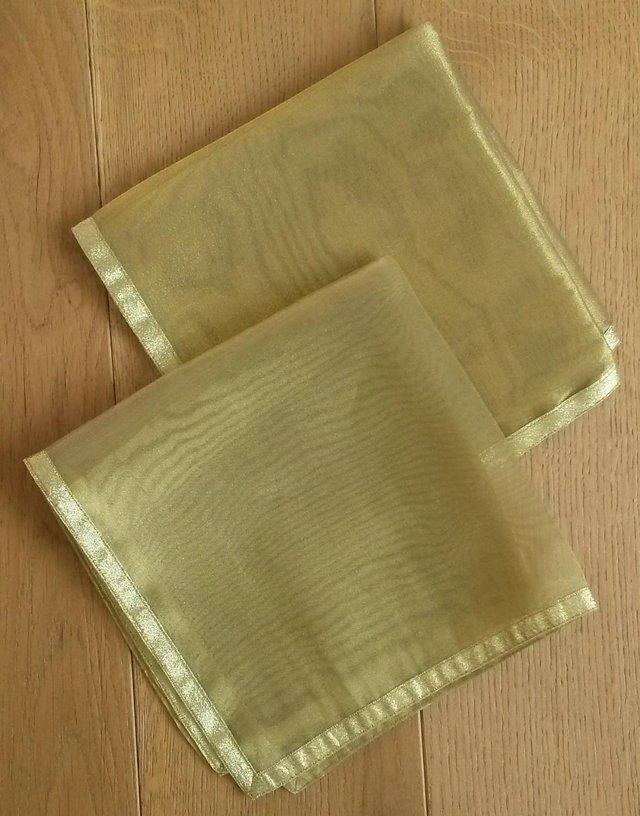 Image 2 of NEW TABLECLOTH MATS NAPKINS 1 Pair Gold Organza Voile Luxury