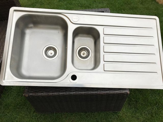 Kitchen sink sale second hand kitchen furniture buy and sell in blanco lantos 15 bowl kitchen sink stainless steel made in germany wide and family sized it has a flat rim and a small bowl for straining and washing workwithnaturefo