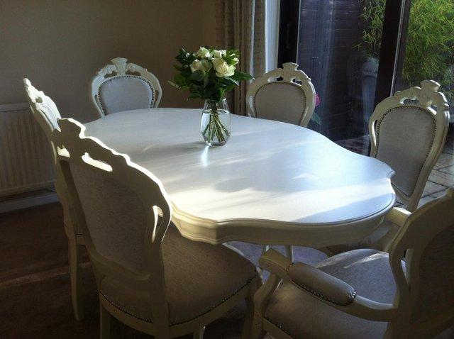 A Truly Stunning Shabby Chic Dining Table And Six Matching Chairs That Has Been Totally Refurbished Professionally To Give Classic French Style