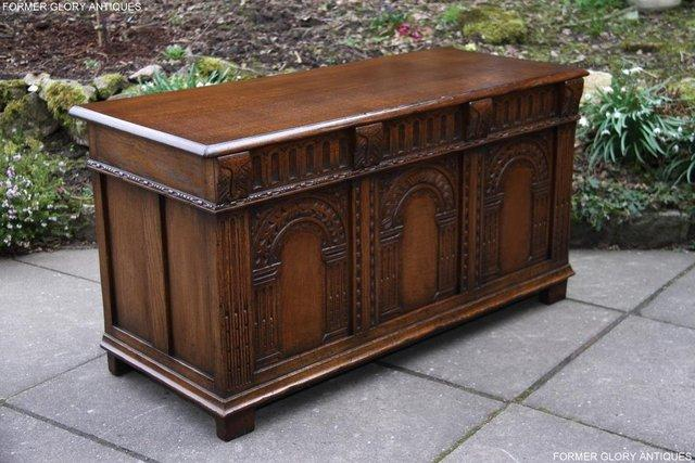 Image 2 of TITCHMARSH AND GOODWIN CARVED OAK BLANKET CHEST BOX COFFER