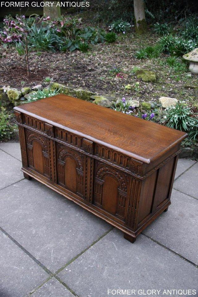 Image 45 of TITCHMARSH AND GOODWIN CARVED OAK BLANKET CHEST BOX COFFER