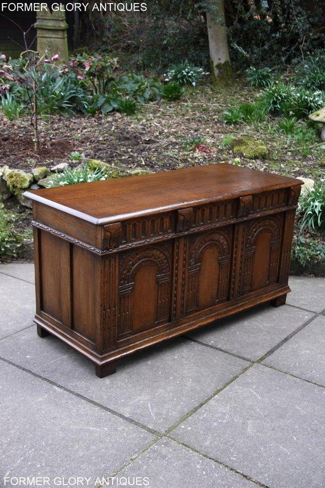 Image 55 of TITCHMARSH AND GOODWIN CARVED OAK BLANKET CHEST BOX COFFER