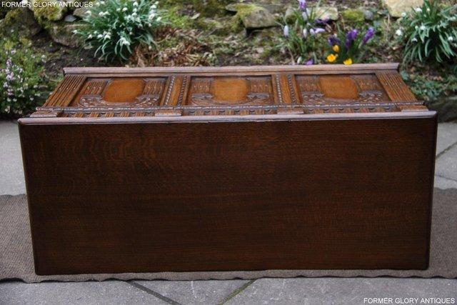 Image 78 of TITCHMARSH AND GOODWIN CARVED OAK BLANKET CHEST BOX COFFER