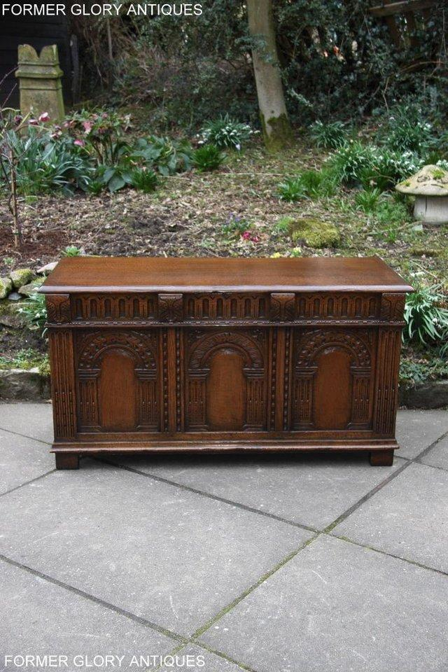 Image 79 of TITCHMARSH AND GOODWIN CARVED OAK BLANKET CHEST BOX COFFER