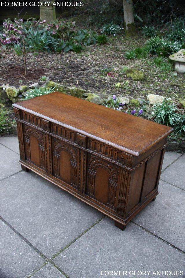 Image 83 of TITCHMARSH AND GOODWIN CARVED OAK BLANKET CHEST BOX COFFER