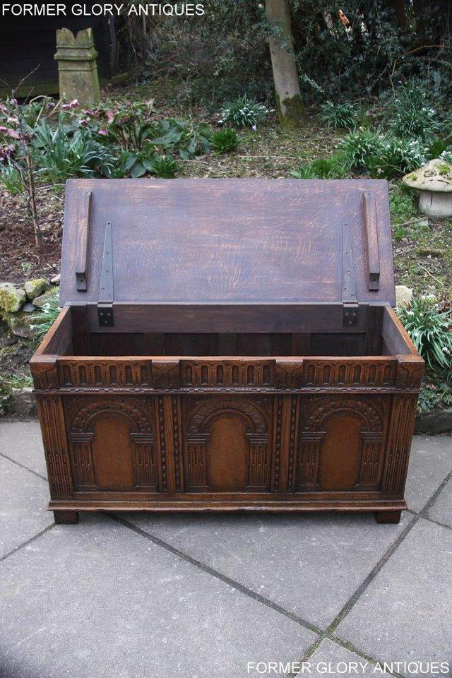 Image 85 of TITCHMARSH AND GOODWIN CARVED OAK BLANKET CHEST BOX COFFER