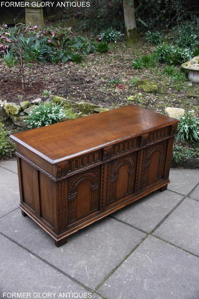 Image 89 of TITCHMARSH AND GOODWIN CARVED OAK BLANKET CHEST BOX COFFER
