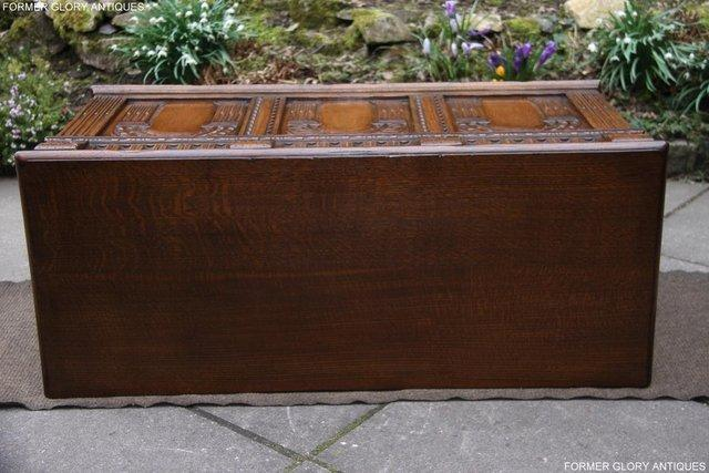 Image 91 of TITCHMARSH AND GOODWIN CARVED OAK BLANKET CHEST BOX COFFER