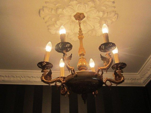 Metal chandeliers second hand lighting buy and sell in the uk and stunning and unusual 5 branch antique brass electric wired chandelier featuring attractive dragons or gryphons with filigree candle bulb cups aloadofball Choice Image