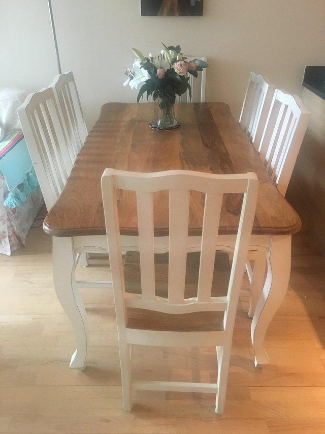 French Shabby Chic Dining Table With 6 Chairs