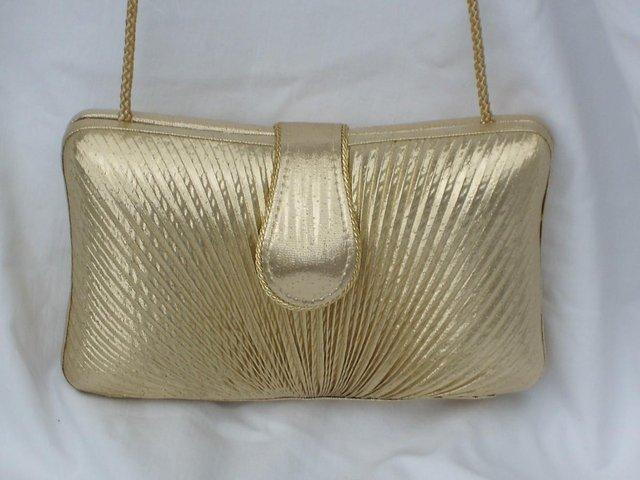 Image 2 of DENTS 1777 Vintage Look Gold Lamé Handbag/Clutch NEW!