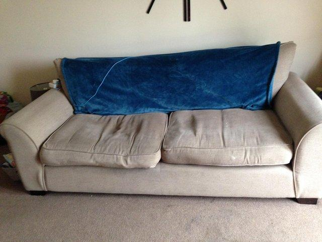 Free Three And Two Seater Sofas Well Worn And Couple Stains Which Is Why  They Are Free But Still Comfortable And Will Put Someone On.